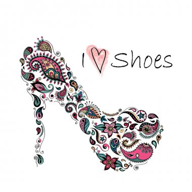 Patterned shoes. Batik, doodle, zentangle design. It may be used for shirt, bag, postcard and poster.
