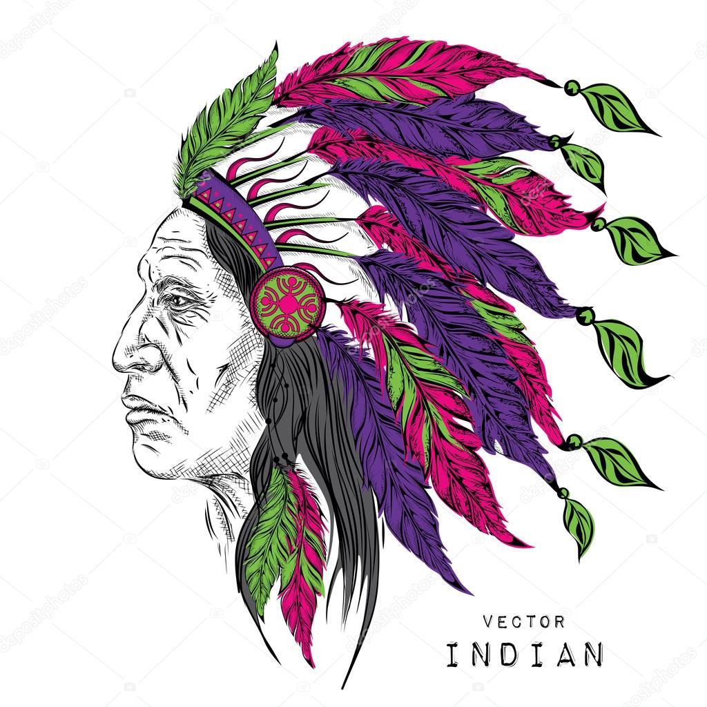 Homme En Chef Indien Indigène Gardon Noir Coiffe Indien