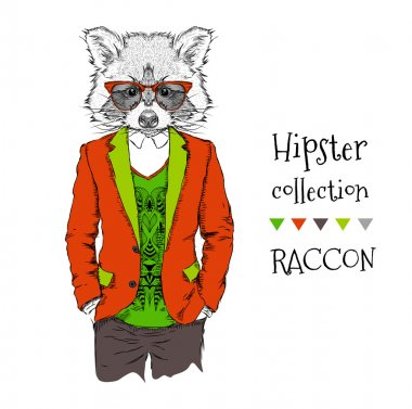 llustration of Raccoon hipster dressed up in jacket, pants and sweater. Vector illustration