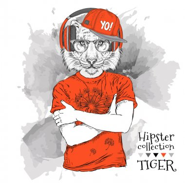 Illustration of tiger hipster dressed up in t-shirt, pants and  in the glasses and headphones. Vector illustration.