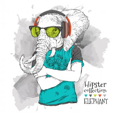 Illustration of elephant hipster dressed up in t-shirt, pants and  in the glasses and headphones. Vector illustration.