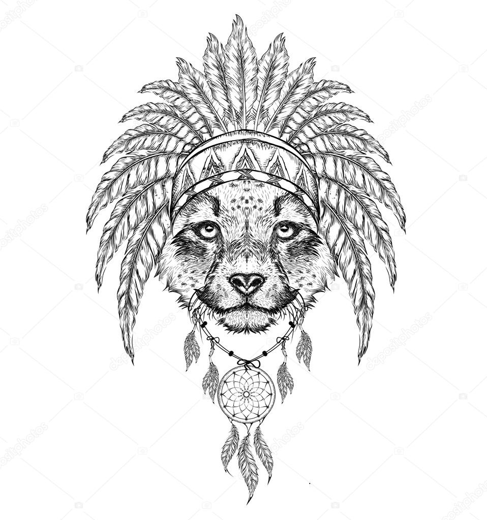 Cheetah in the Indian roach  Indian feather headdress of