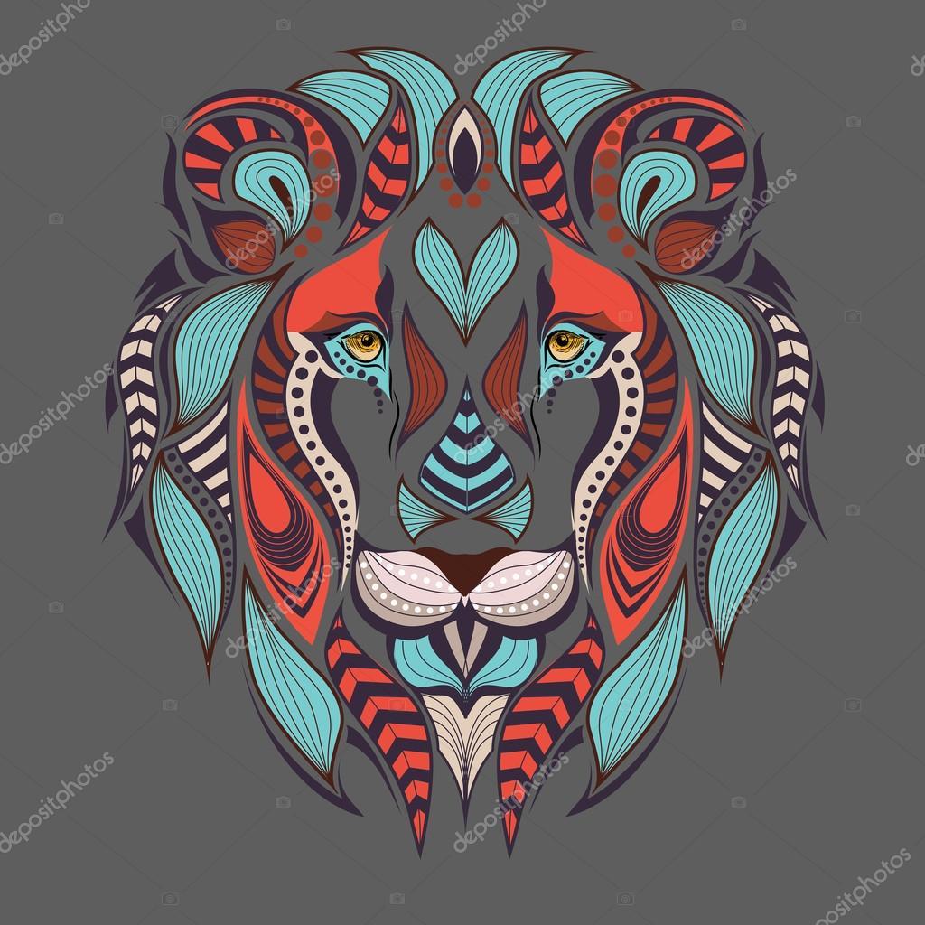 Cabeza Color Con Dibujos De Un León áfrica Indio Totem Diseño