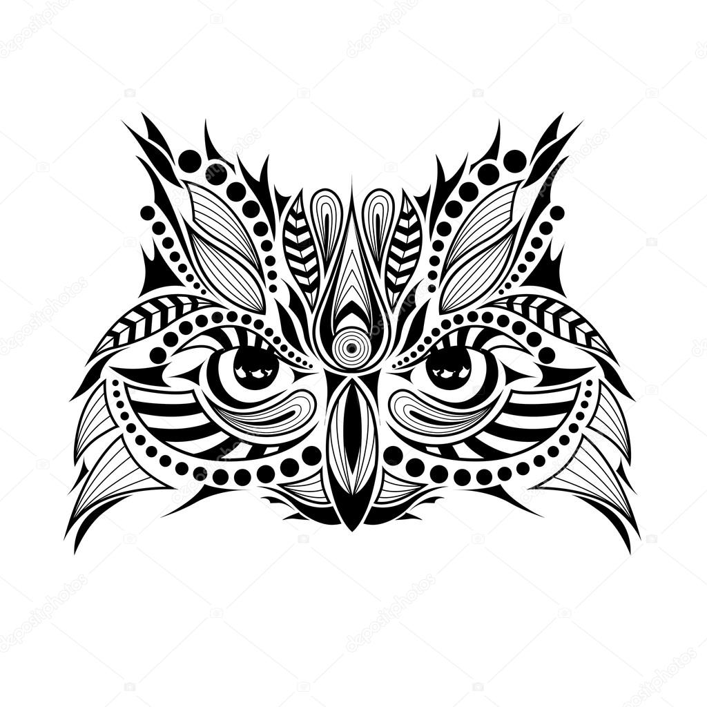 Patterned Colored Head Of The Owl African Indian Totem Tattoo