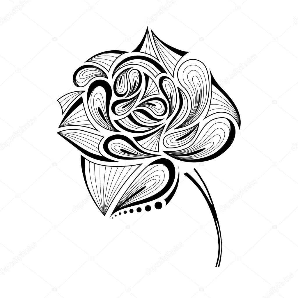 Hand Draw Abstract Rose Vector Illustration Stock Vector