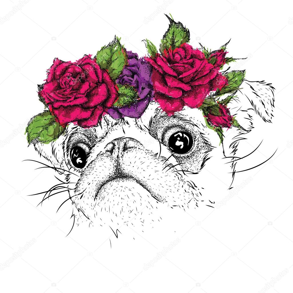 Main Dessiner Portrait De Pug Portant Une Couronne De Fleurs
