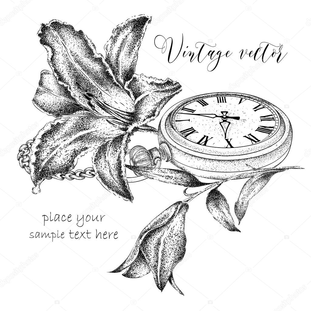 Hand drawi vintage postcard. A pocket watch on a chain and flowers. Vector illustration