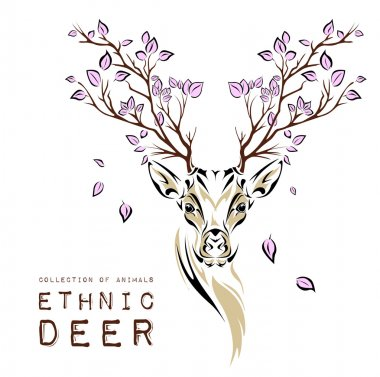 Ethnic colored head of deer with branches on the horns. totem / tattoo design. Use for print, posters, t-shirts. Vector illustration