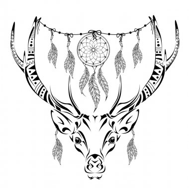 Hand drawn magic horned deer for adult anti stress Coloring Page with high details isolated on white background, illustration in zentangle style. Vector monochrome sketch.