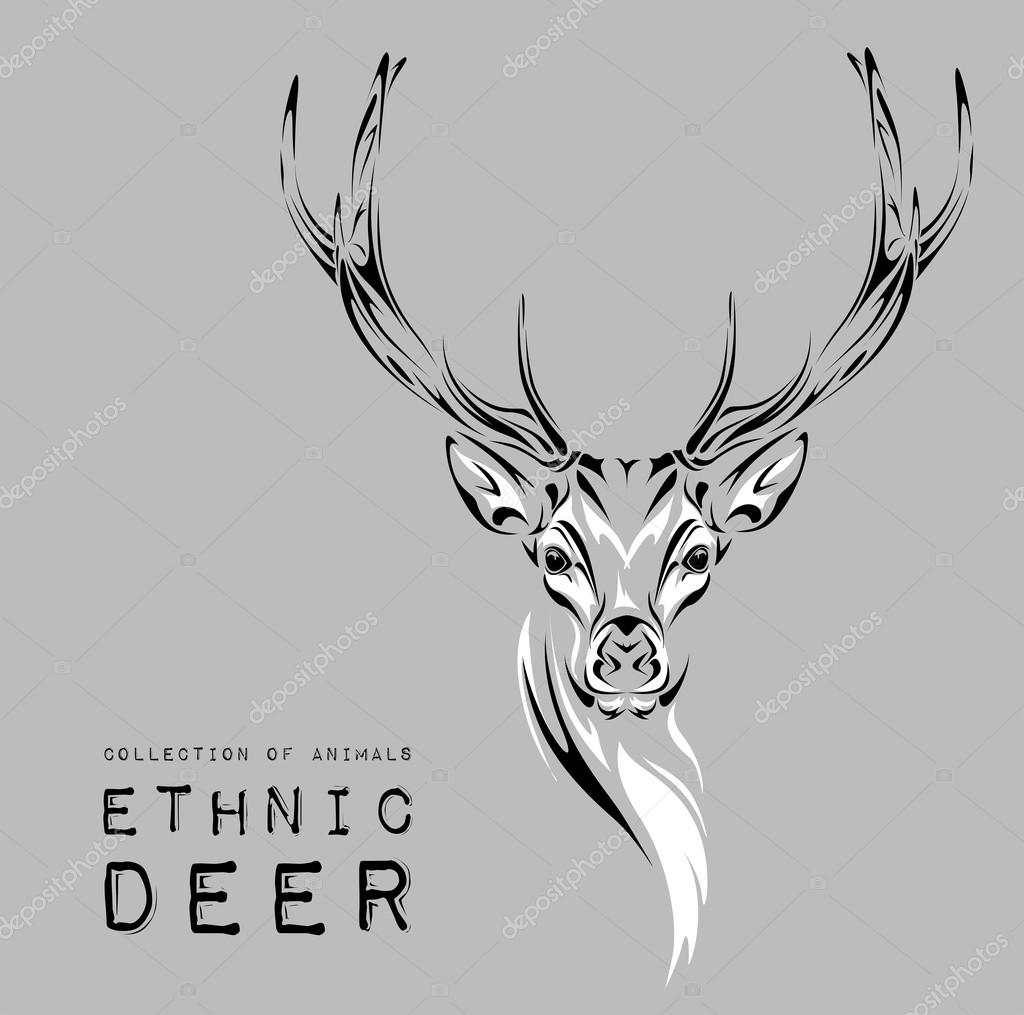 Ethnic black head of deer on the white background totem / tattoo design. Use for print, posters, t-shirts. Vector illustration