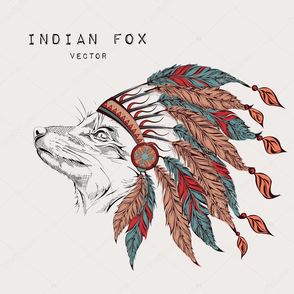 狐色のインドのゴキブリ。イーグル インディアン羽飾り — ストックベクタ