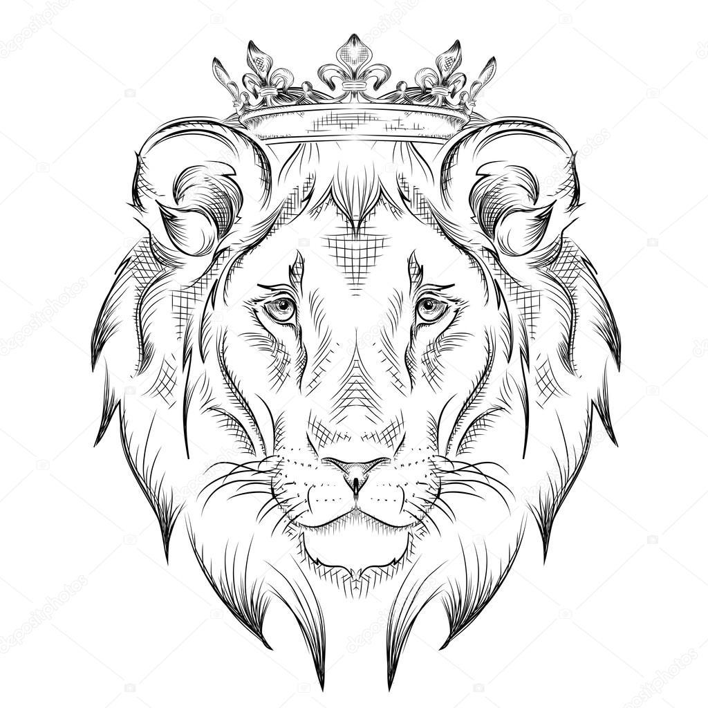 Dessin De Tete De Lion Portant Une Couronne A La Main Ethnique