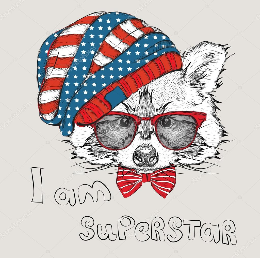Hand draw raccoon in a USA hat. Vector illustration