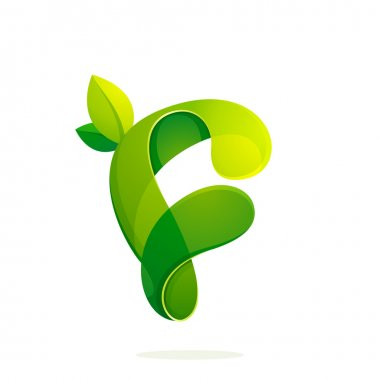 F letter with green leaves eco logo, volume icon.