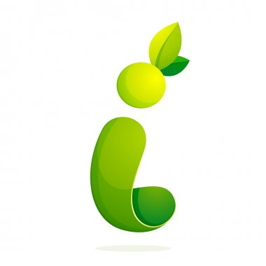 I letter with green leaves eco logo, volume icon.