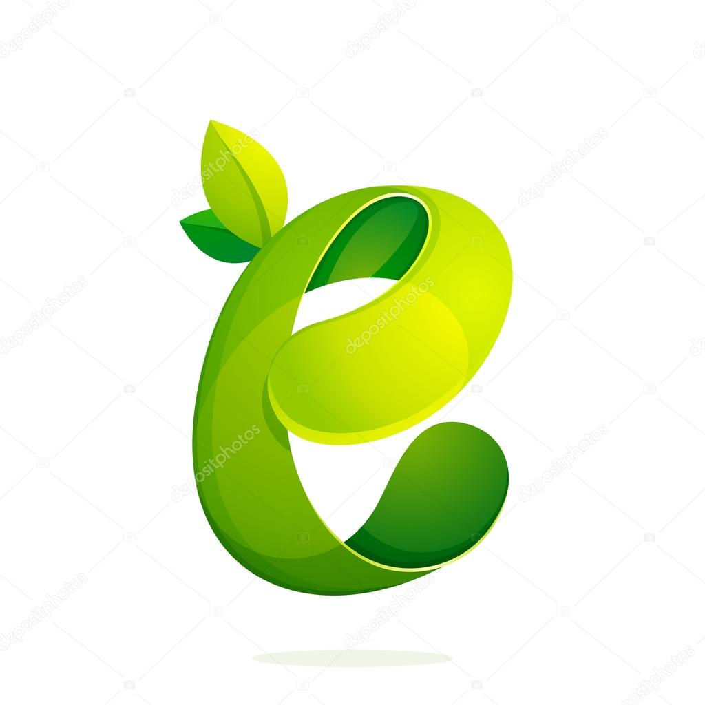 E letter with green leaves eco logo, volume icon.