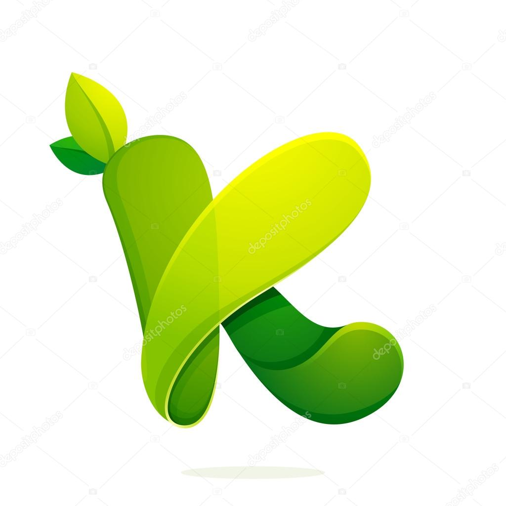 K letter with green leaves eco logo, volume icon.
