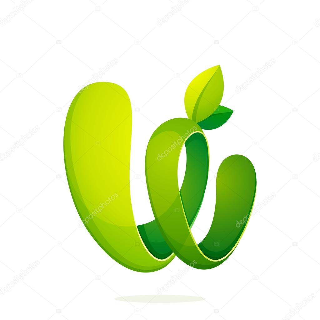 W letter with green leaves eco logo, volume icon.