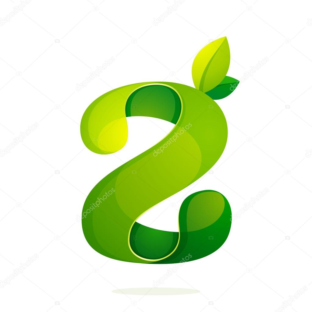 Z letter with green leaves eco logo, volume icon.