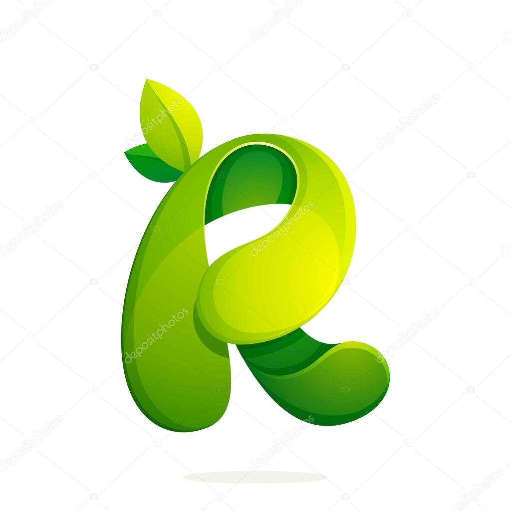 R letter with green leaves eco logo, volume icon.