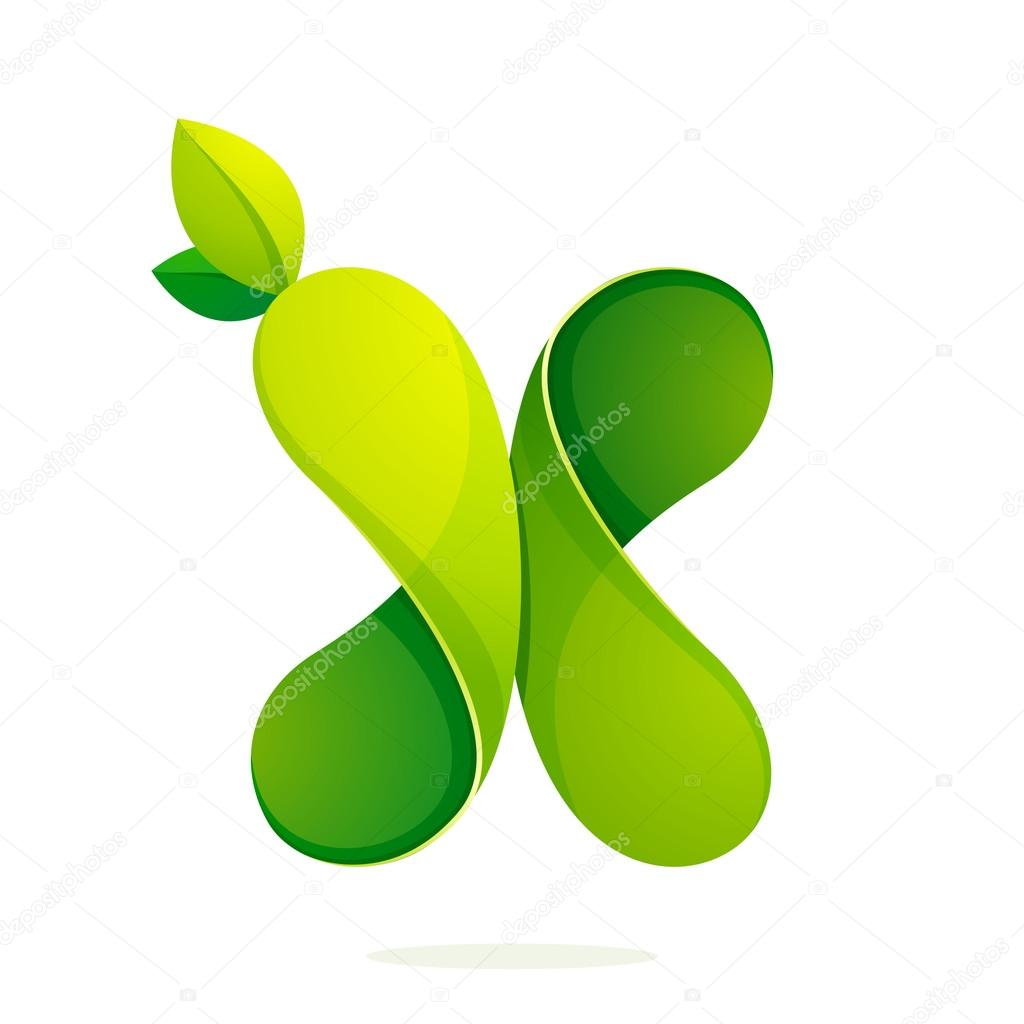 X letter with green leaves eco logo, volume icon.