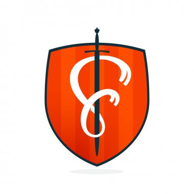 F letter on the sword and shield.