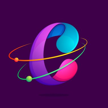 C letter with atoms orbits.
