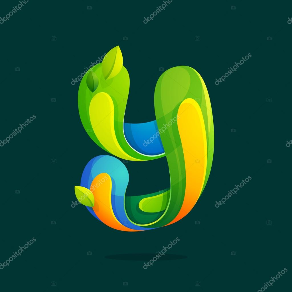 Y letter with green leaves eco logo.