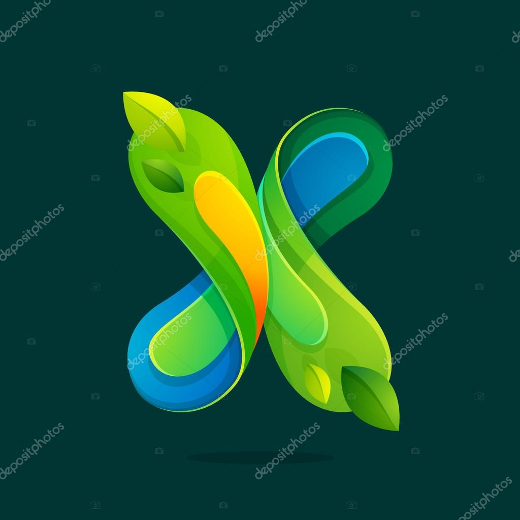 X letter with green leaves eco logo.