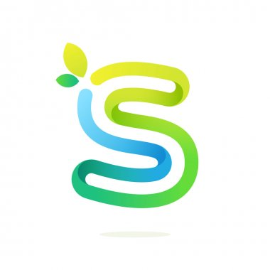 S letter with green leaves eco logo.