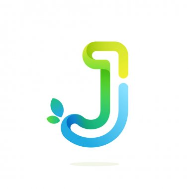 J letter with green leaves eco logo.