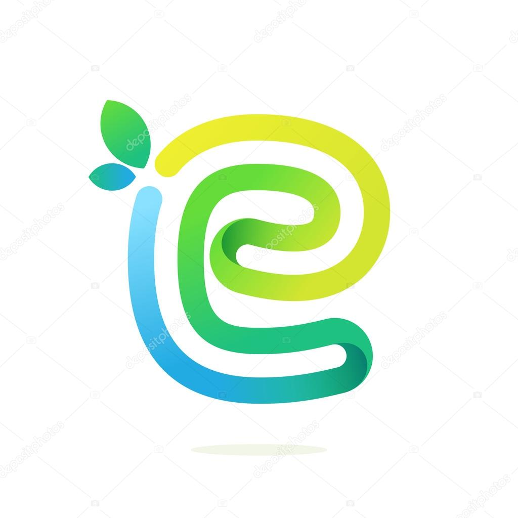 E letter with green leaves eco logo.