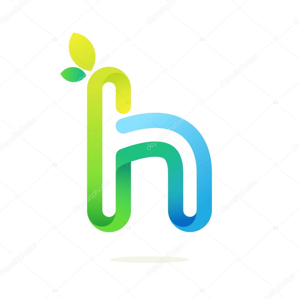 H letter with green leaves eco logo.