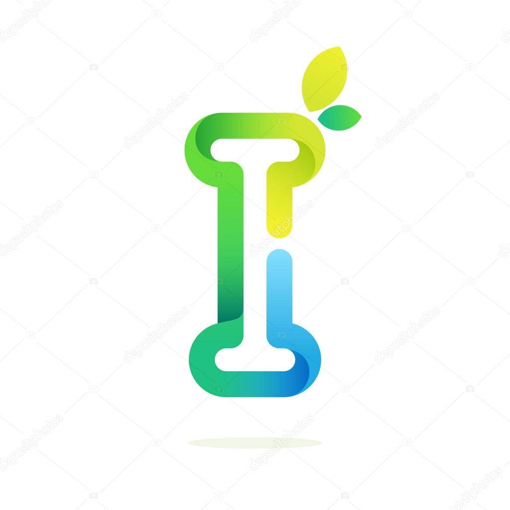 I letter with green leaves eco logo.