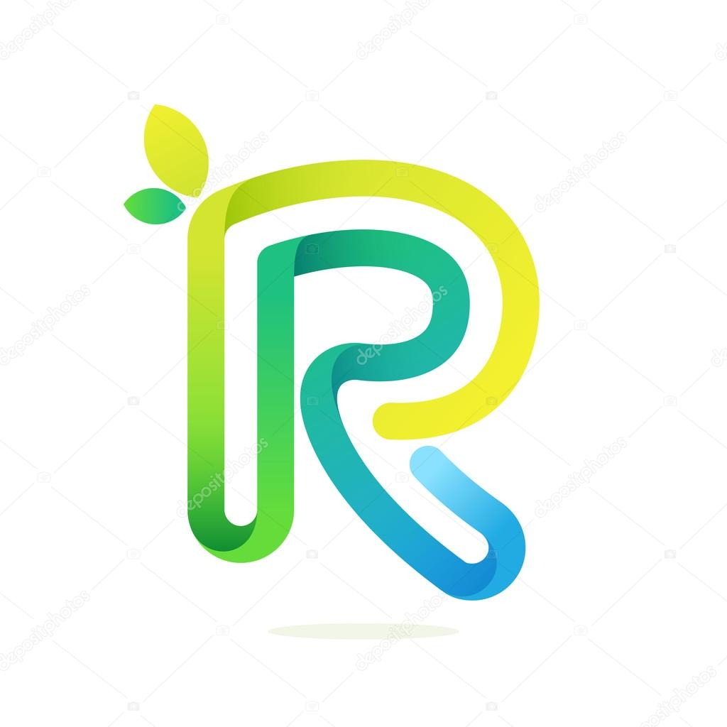 R letter with green leaves eco logo.