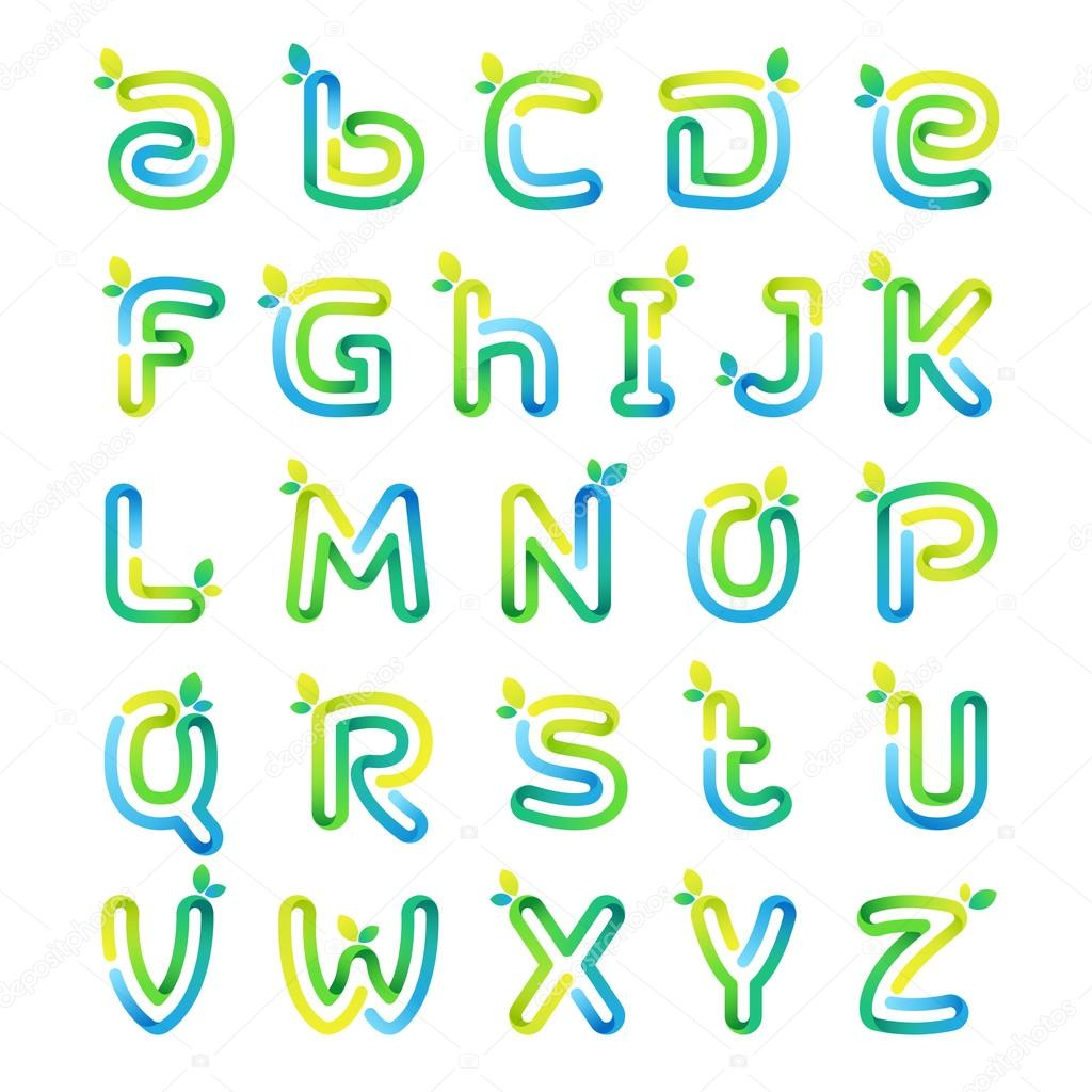 Eco alphabet letters with leaves.