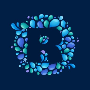 R letter in circle of splashes