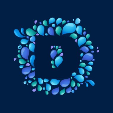 D letter in circle of splashes
