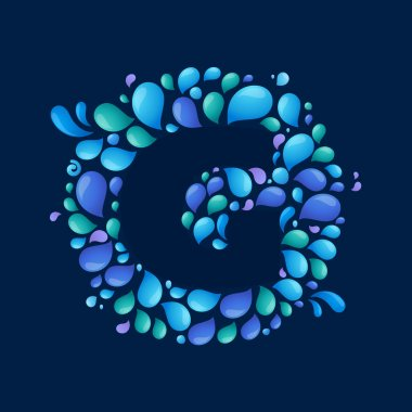 G letter in circle of splashes