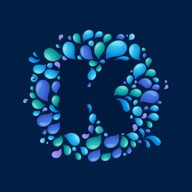 K letter in circle of splashes