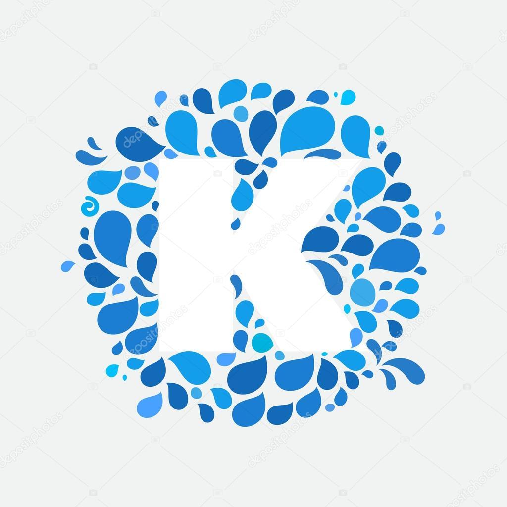 K letter in circle of splashes