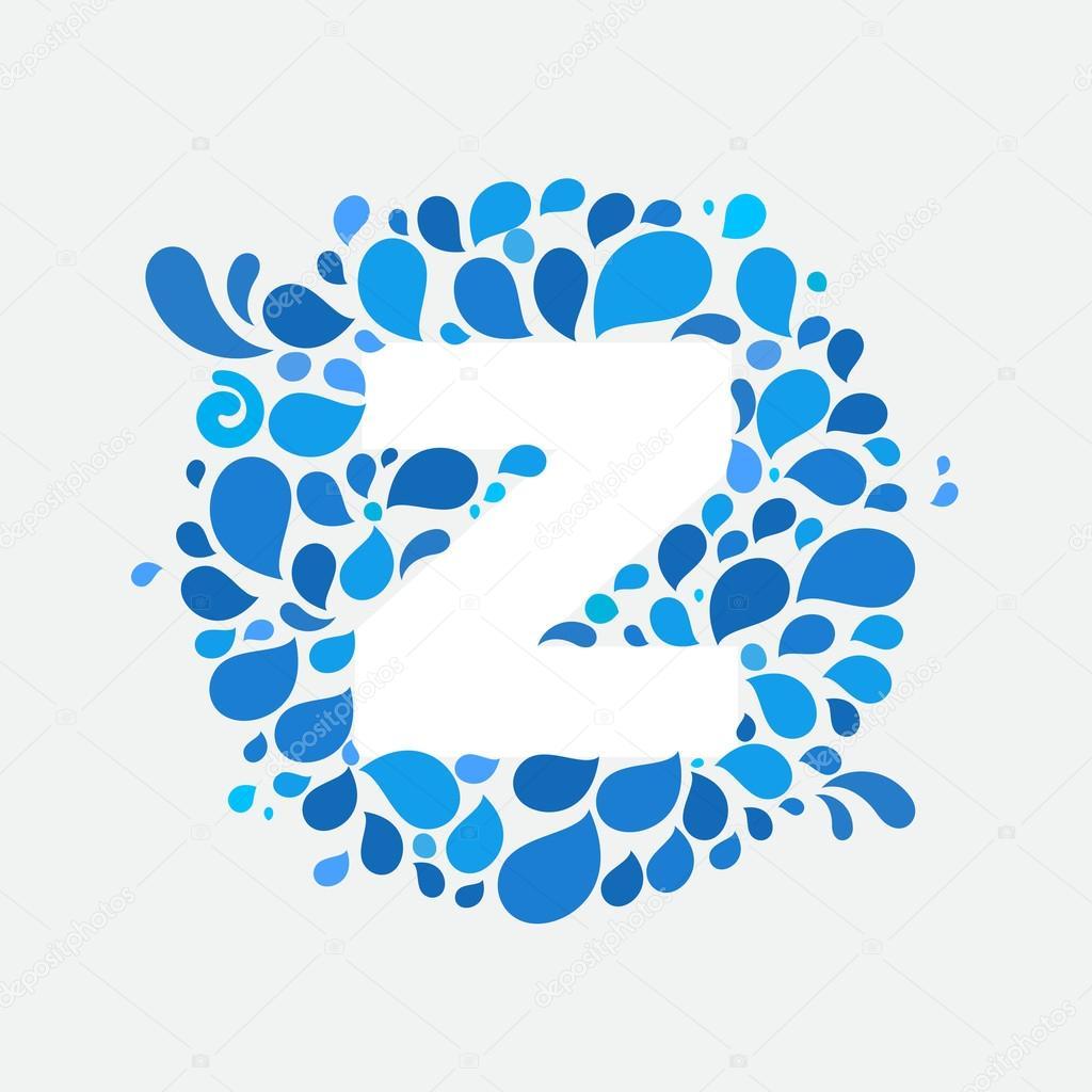 Z letter in circle of splashes