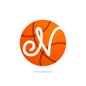 N letter logo with basketball ball.