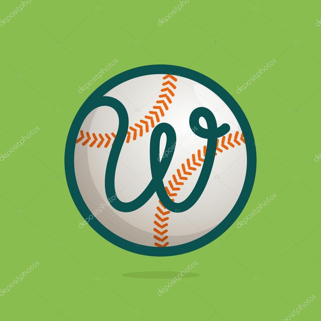 W-Brief-Logo mit Baseball ball — Stockvektor © kaer_dstock #103689810