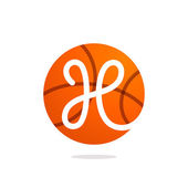 H letter logo with basketball ball.