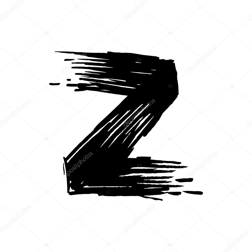 Z letter painted with a felt pen stock vector