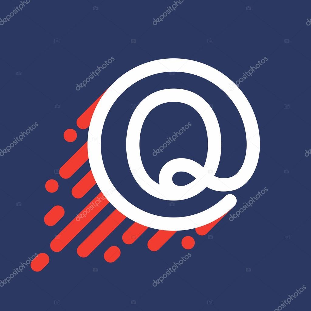 6834ce379 Q logotipo da letra em círculo com linha de velocidade — Vetores de Stock