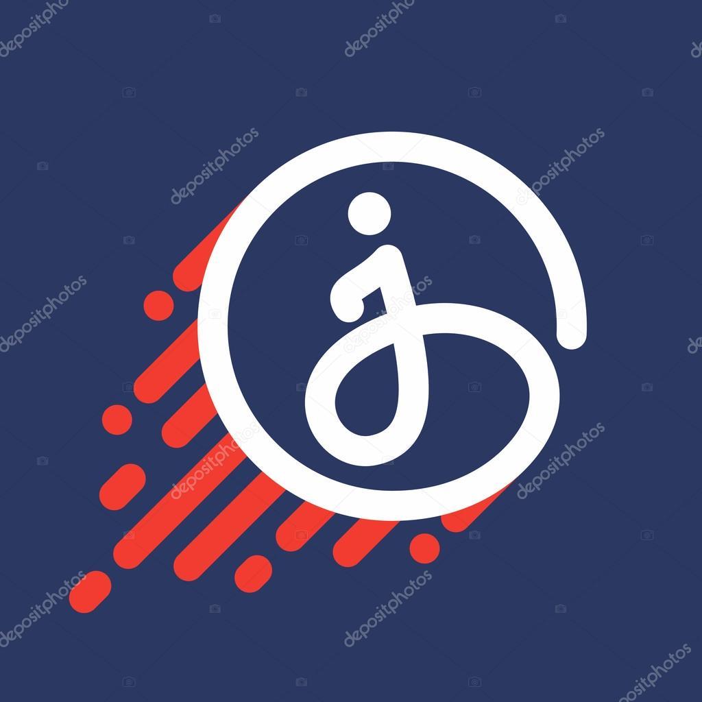 29e7a1bc3 Logotipo de letra J em círculo com linha de velocidade — Vetores de Stock