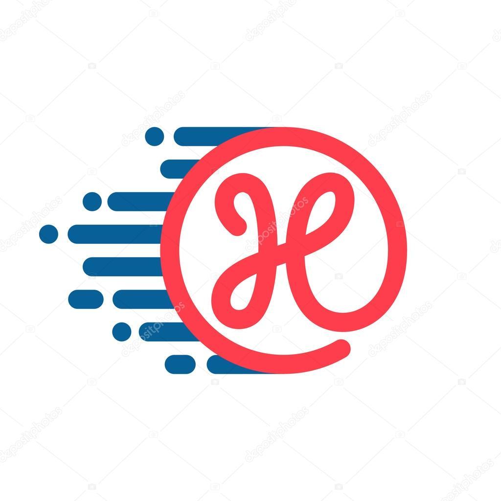 39f991cd0 Logotipo de letra H em círculo com linha de velocidade — Vetores de Stock