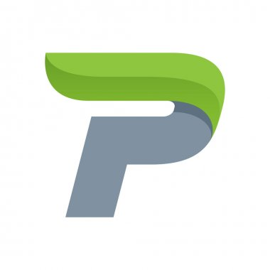 P letter logo with green leaf.